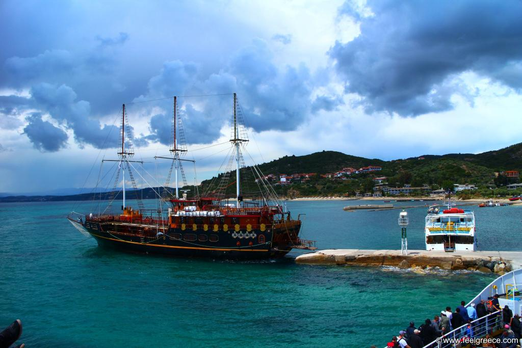 Tourist ship and stormy weather