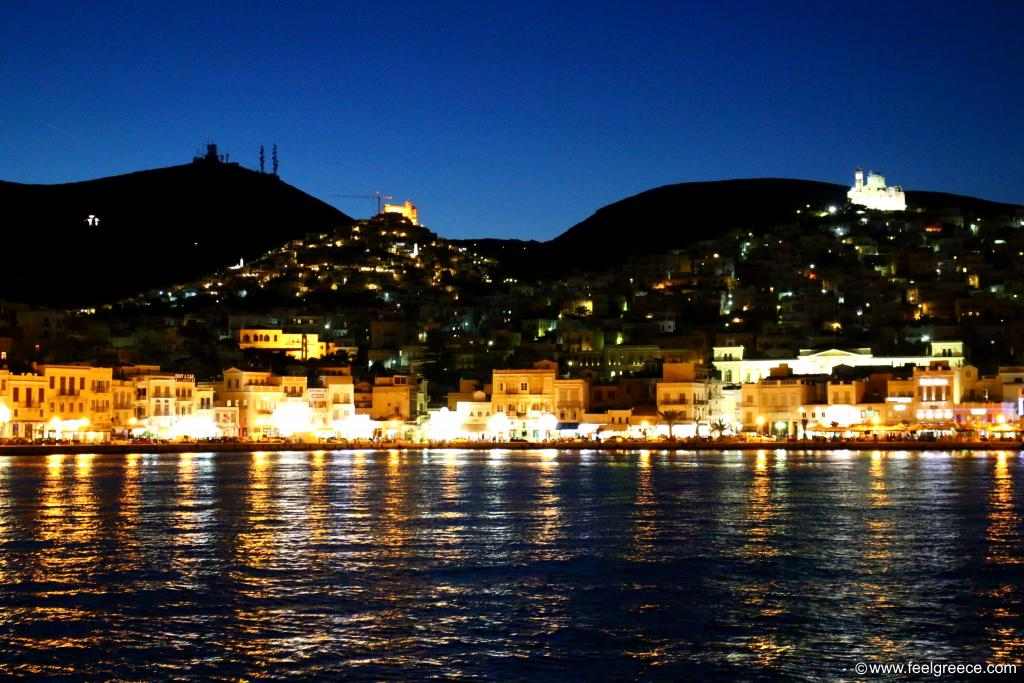 Night view to Ano Syros, the two hills and churches