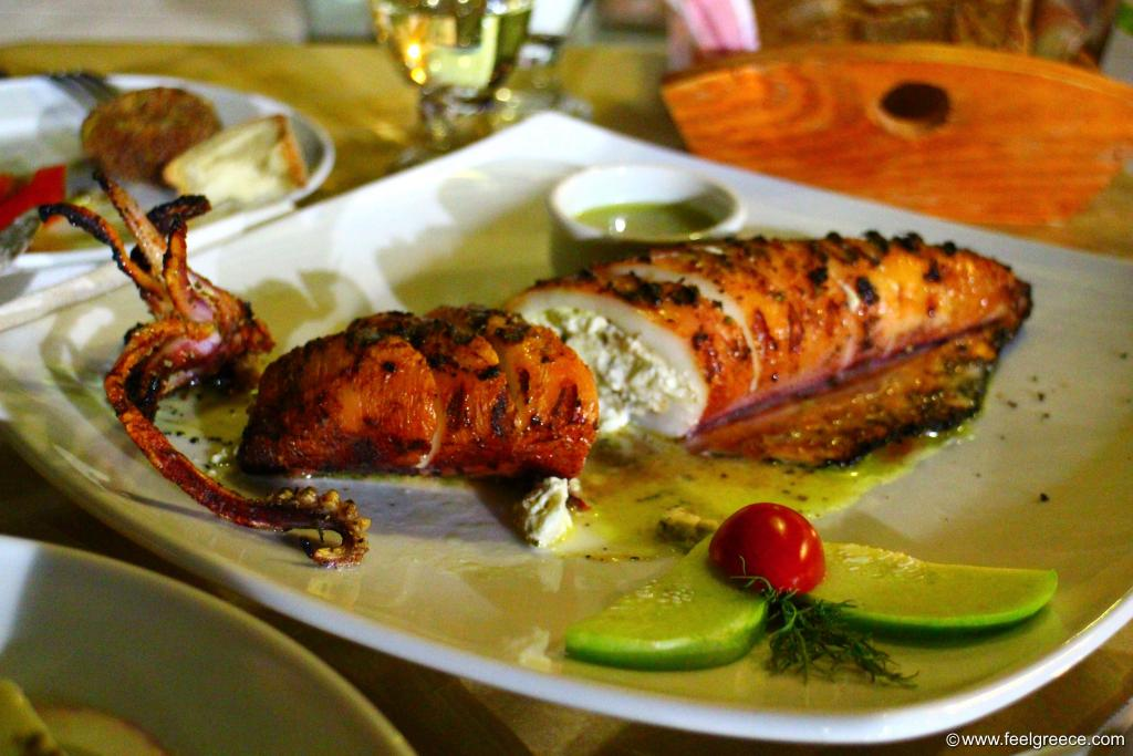 Kalamari Gemisto - stuffed calamari said in Greek language