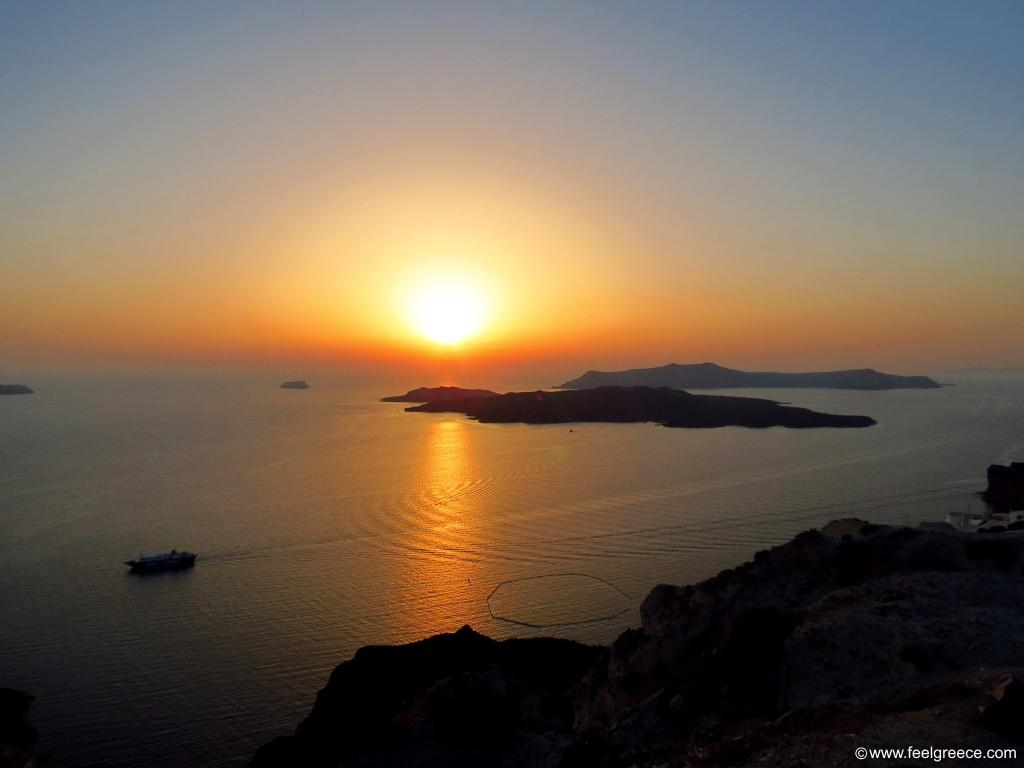 the sunset as seen near Fira