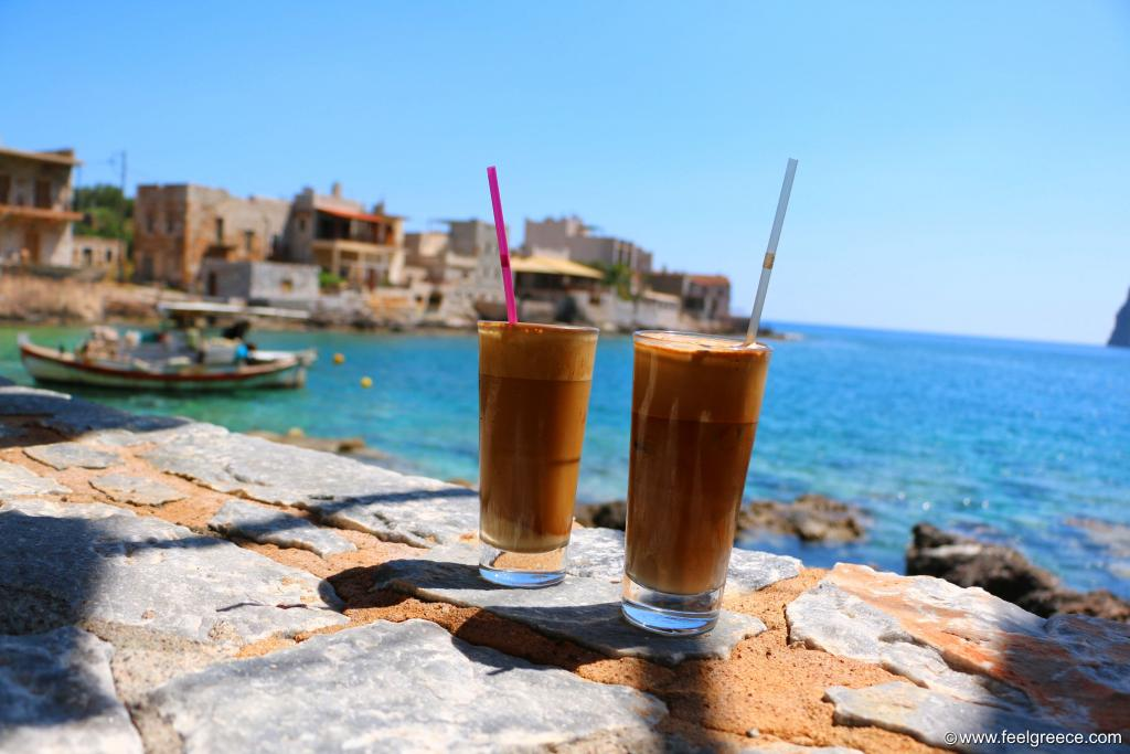 Cold frappe with view of the pier