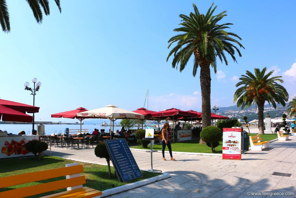 the promenade with cafes