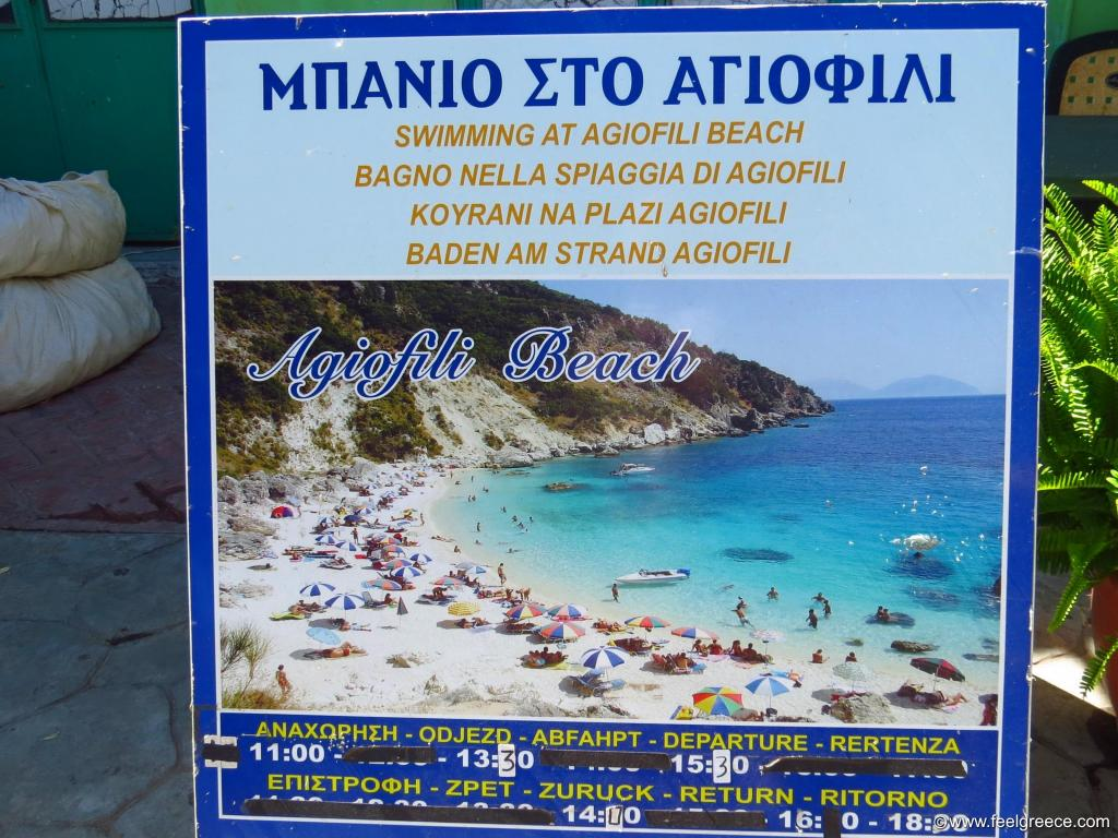 Advertising board for boat trips to Agiofili