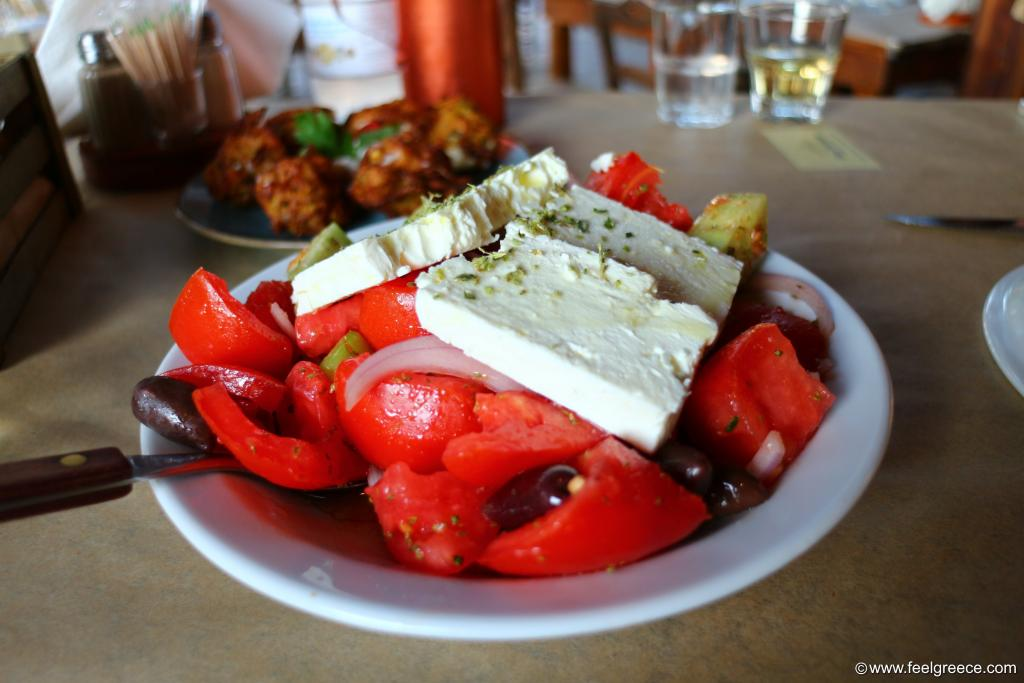 Greek salad at taverna in Temploni, Corfu