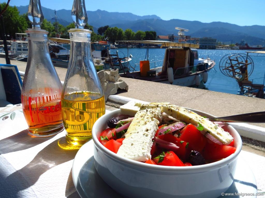 Greek salad by the sea